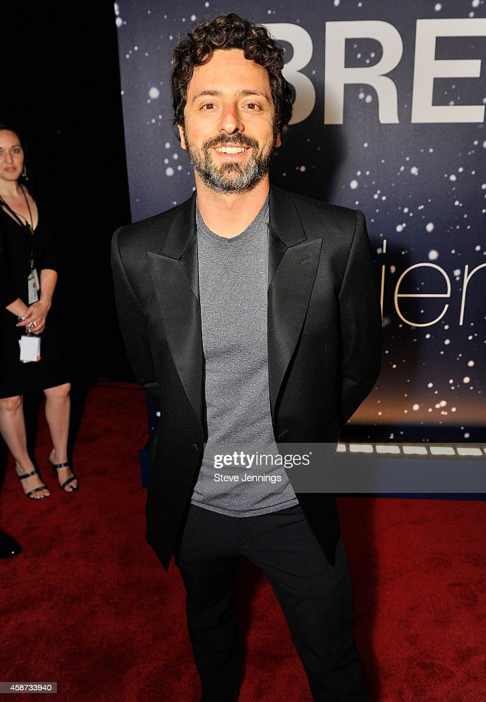 Breakthrough Prize Founder <a gi-track='captionPersonalityLinkClicked' href=/galleries/search?phrase=Sergey+Brin&family=editorial&specificpeople=753551 ng-click='$event.stopPropagation()'>Sergey Brin</a> attends the Breakthrough Prize Awards Ceremony Hosted By Seth MacFarlane at NASA Ames Research Center on November 9, 2014 in Mountain View, California.
