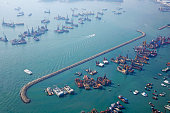 Breakwater and boats in West Kowloon harbour