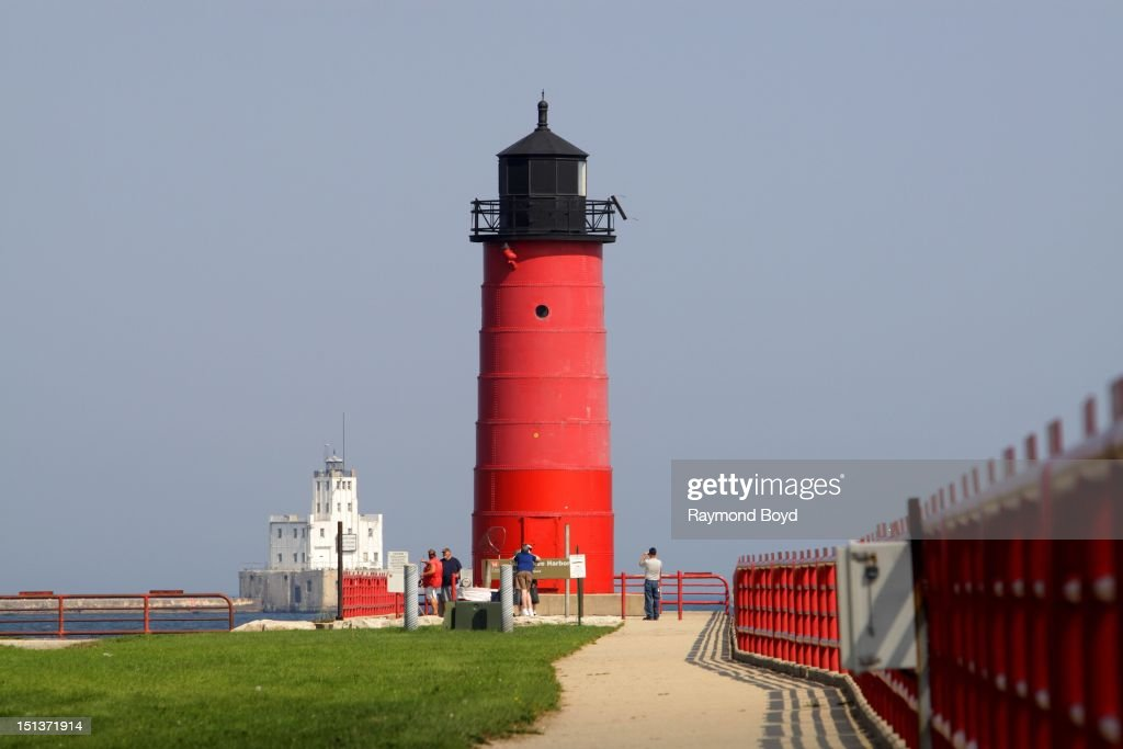 Breakwater Lighthouse and Pierhead Lighthouse, at Milwaukee Harbor in Milwaukee, Wisconsin on AUGUST