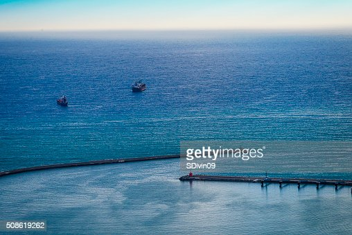 Breakwater of Salerno  port on the  Tyrrhenum Sea : Stock Photo