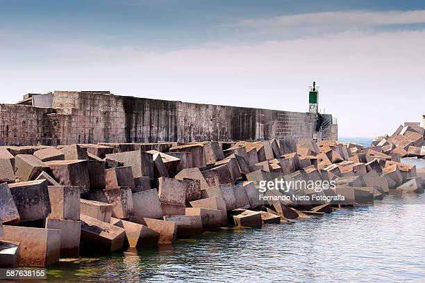 Breakwater with a lighthouse at the end