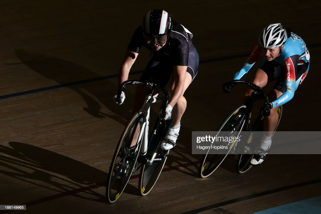 Breanna Hargrave of SASI and Taylah Jennings of Australia compete in the women's sprint during the 2013 UCI Festival of Speed at SIT Zerofees...