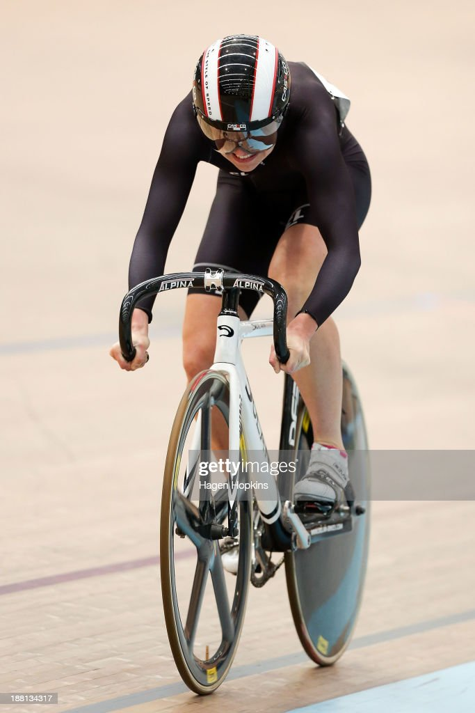 Breanna Hargrave of SASI competes in the women's sprint during the 2013 UCI Festival of Speed at SIT Zerofees Velodrome on November 16 2013 in...