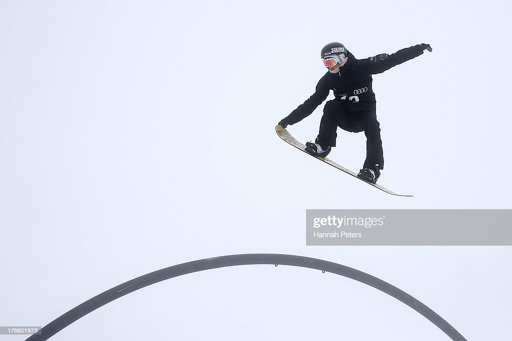 Breanna Stangeland of Canada competes in qualifying for FIS Snowboard Slopestyle World Cup Finals during day five of the Winter Games NZ at Cardrona Alpine Resort on August 19, 2013 in Wanaka, New Zealand.
