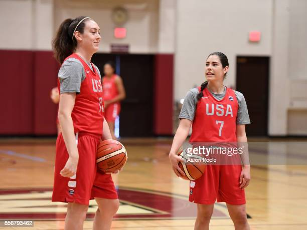 Breanna Stewart and Kelsey Plum of the 2017 USA Women's National Team during training camp at Westmont College on September 30 2017 in Santa Barbara...