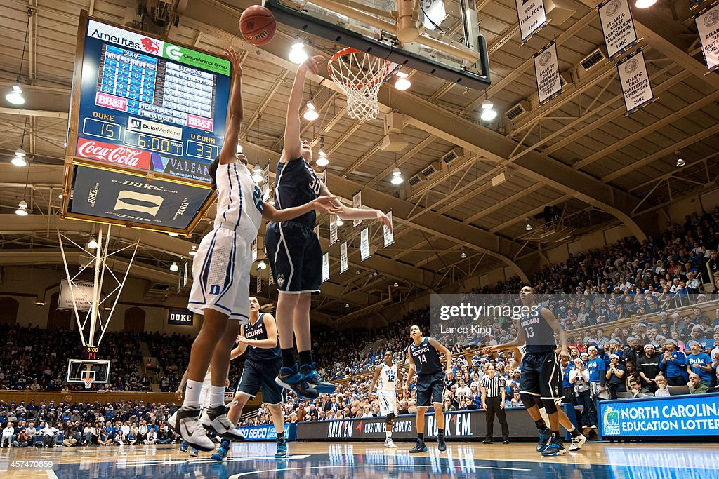 <a gi-track='captionPersonalityLinkClicked' href=/galleries/search?phrase=Breanna+Stewart&family=editorial&specificpeople=8564806 ng-click='$event.stopPropagation()'>Breanna Stewart</a> #30 of the Connecticut Huskies blocks a shot by Oderah Chidom #22 of the Duke Blue Devils at Cameron Indoor Stadium on December 17, 2013 in Durham, North Carolina.