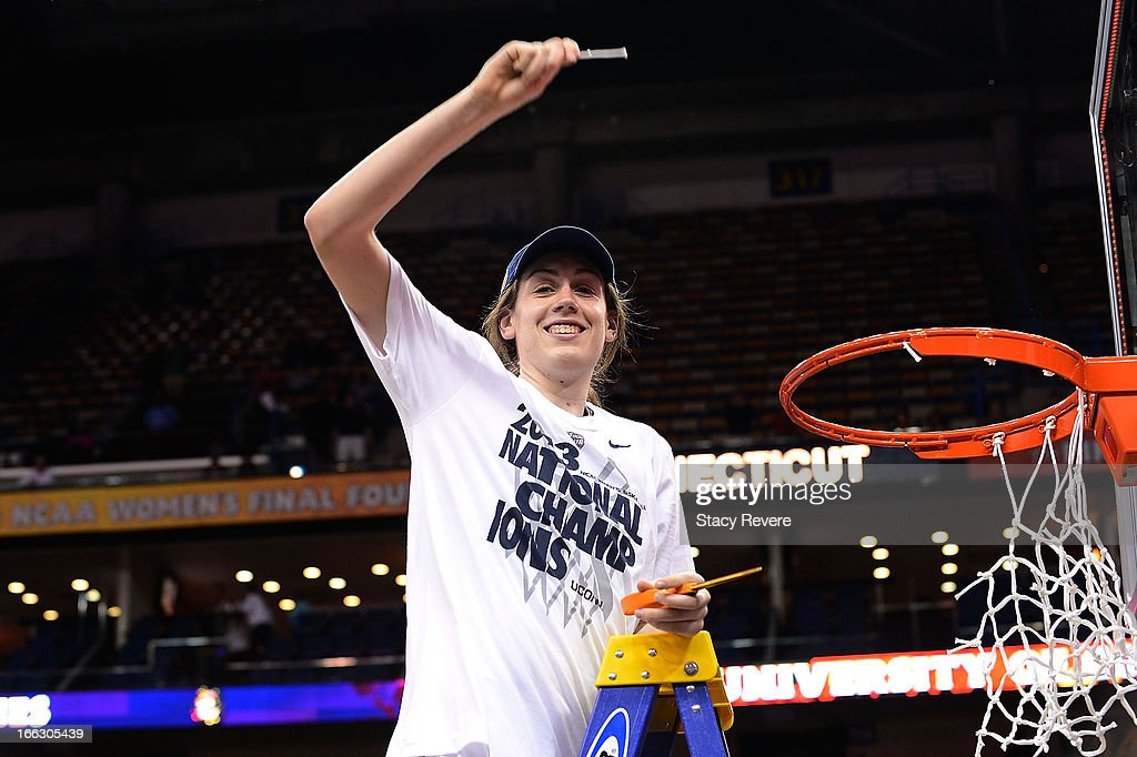 Breanna Stewart #30 of the Connecticut Huskies, cuts down the net following a victory over the Louisville Cardinals in the National Final game of the 2013 NCAA Division I Women's Basketball Championship at New Orleans Arena on April 9, 2013 in New Orleans, Louisiana.