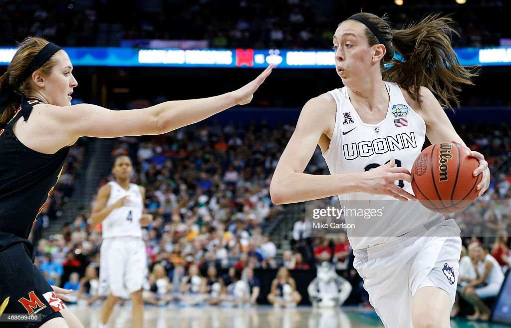<a gi-track='captionPersonalityLinkClicked' href=/galleries/search?phrase=Breanna+Stewart&family=editorial&specificpeople=8564806 ng-click='$event.stopPropagation()'>Breanna Stewart</a> #30 of the Connecticut Huskies drives against the Maryland Terrapins in the first half during the NCAA Women's Final Four Semifinal at Amalie Arena on April 5, 2015 in Tampa, Florida.