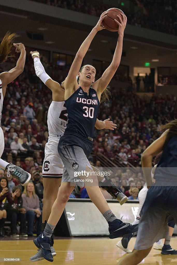 <a gi-track='captionPersonalityLinkClicked' href=/galleries/search?phrase=Breanna+Stewart&family=editorial&specificpeople=8564806 ng-click='$event.stopPropagation()'>Breanna Stewart</a> #30 of the Connecticut Huskies gets a defensive rebound against the South Carolina Gamecocks at Colonial Life Arena on February 8, 2016 in Columbia, South Carolina.