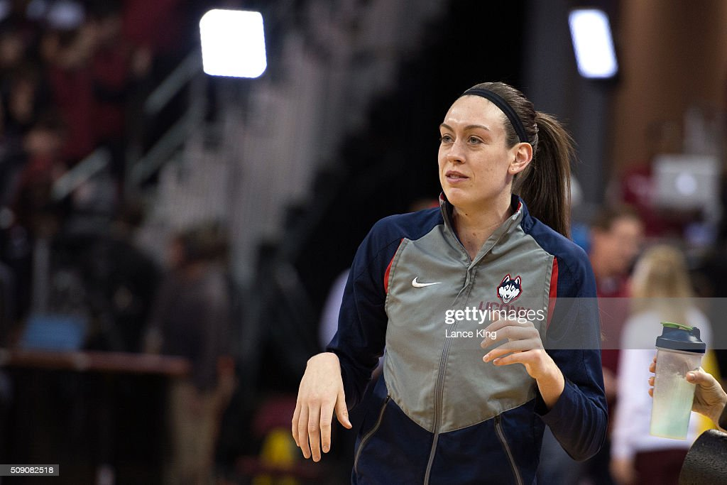 <a gi-track='captionPersonalityLinkClicked' href=/galleries/search?phrase=Breanna+Stewart&family=editorial&specificpeople=8564806 ng-click='$event.stopPropagation()'>Breanna Stewart</a> #30 of the Connecticut Huskies looks on prior to their game against the South Carolina Gamecocks at Colonial Life Arena on February 8, 2016 in Columbia, South Carolina.