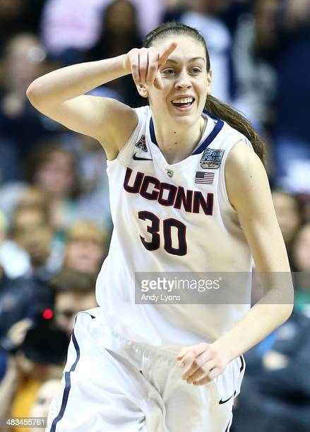 Breanna Stewart of the Connecticut Huskies reacts after a basket against the Notre Dame Fighting Irish during the NCAA Women's Final Four...