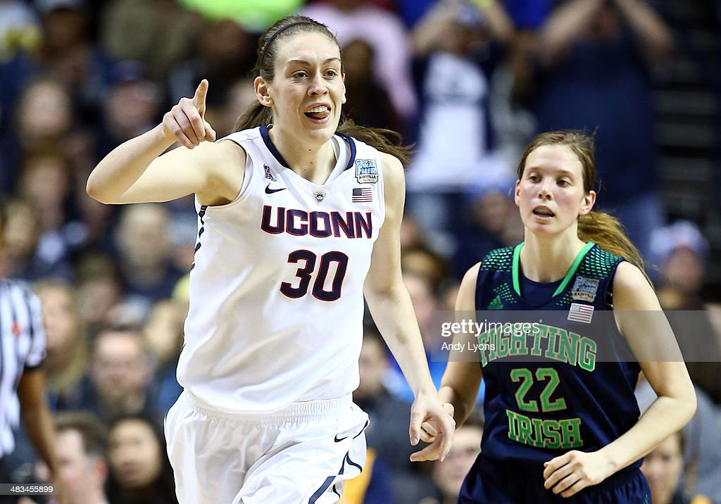 <a gi-track='captionPersonalityLinkClicked' href=/galleries/search?phrase=Breanna+Stewart&family=editorial&specificpeople=8564806 ng-click='$event.stopPropagation()'>Breanna Stewart</a> #30 of the Connecticut Huskies reacts after a basket against the Notre Dame Fighting Irish during the NCAA Women's Final Four Championship at Bridgestone Arena on April 8, 2014 in Nashville, Tennessee.