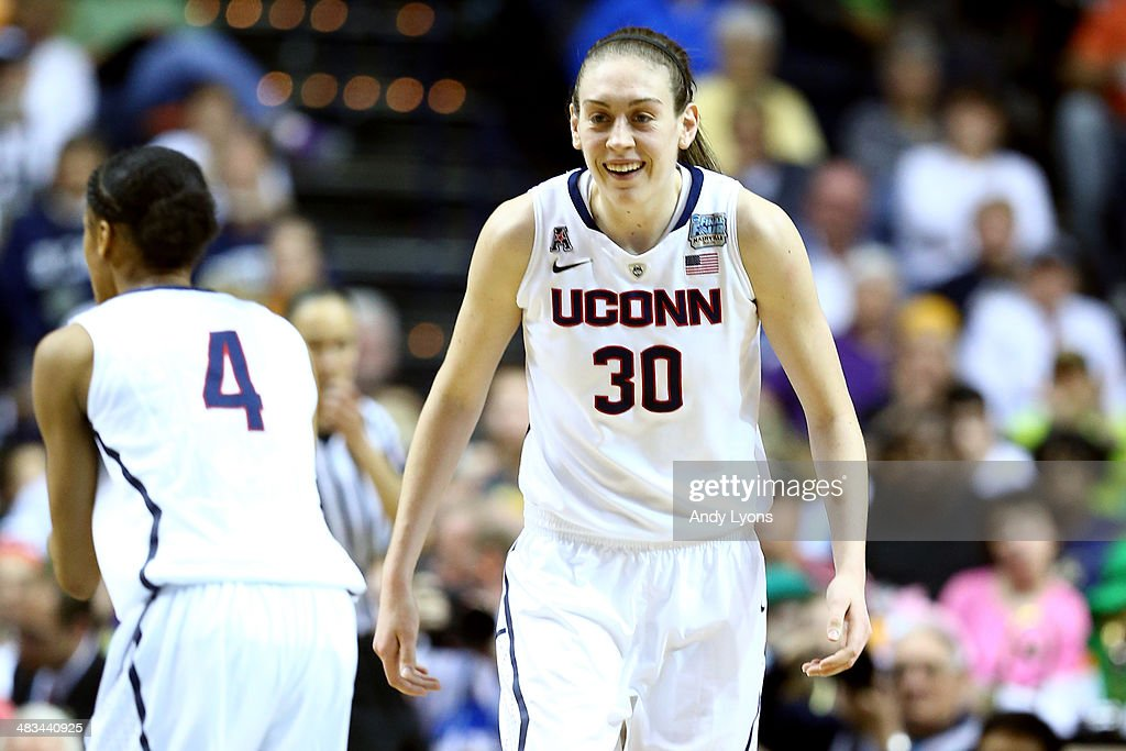 <a gi-track='captionPersonalityLinkClicked' href=/galleries/search?phrase=Breanna+Stewart&family=editorial&specificpeople=8564806 ng-click='$event.stopPropagation()'>Breanna Stewart</a> #30 of the Connecticut Huskies reacts against Notre Dame Fighting Irish in the second half during the NCAA Women's Final Four Championship at Bridgestone Arena on April 8, 2014 in Nashville, Tennessee.