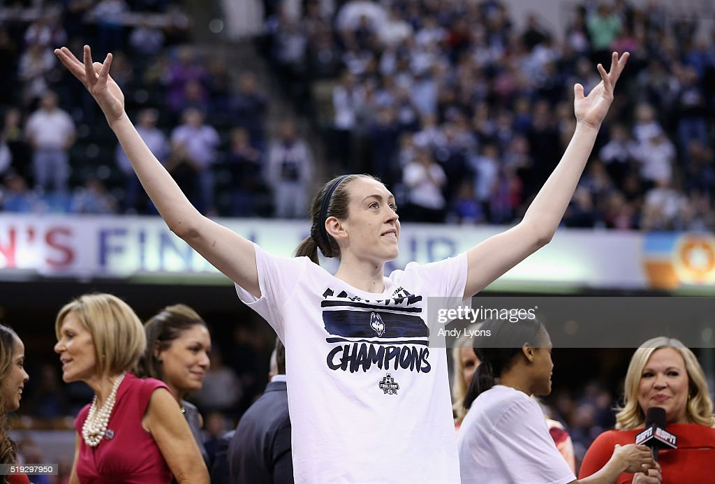 <a gi-track='captionPersonalityLinkClicked' href=/galleries/search?phrase=Breanna+Stewart&family=editorial&specificpeople=8564806 ng-click='$event.stopPropagation()'>Breanna Stewart</a> #30 of the Connecticut Huskies reacts during the trophy presentation after they defeated Syracuse Orange to win the championship game of the 2016 NCAA Women's Final Four Basketball Championship at Bankers Life Fieldhouse on April 5, 2016 in Indianapolis, Indiana. Connecticut won 82-51.