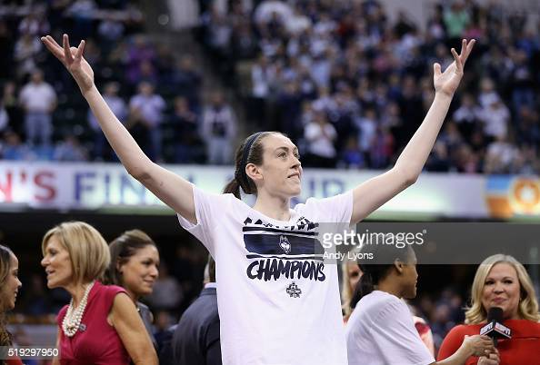 Breanna Stewart of the Connecticut Huskies reacts during the trophy presentation after they defeated Syracuse Orange to win the championship game of...