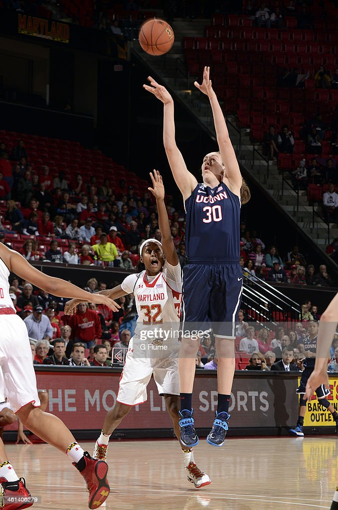 <a gi-track='captionPersonalityLinkClicked' href=/galleries/search?phrase=Breanna+Stewart+-+Basketball+Player&family=editorial&specificpeople=8564806 ng-click='$event.stopPropagation()'>Breanna Stewart</a> #30 of the Connecticut Huskies shoots the ball against Shatori Walker-Kimbrough #32 of the Maryland Terrapins at the Comcast Center on November 15, 2013 in College Park, Maryland.