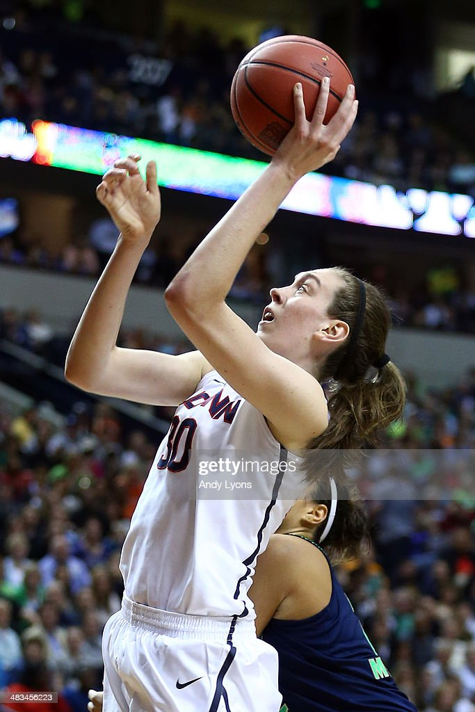 Breanna Stewart #30 of the Connecticut Huskies shoots the ball against the Notre Dame Fighting Irish during the NCAA Women's Final Four Championship at Bridgestone Arena on April 8, 2014 in Nashville, Tennessee.