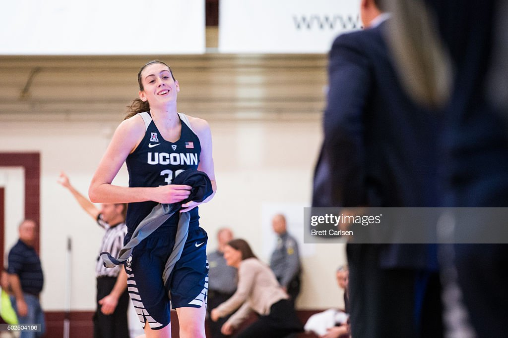 <a gi-track='captionPersonalityLinkClicked' href=/galleries/search?phrase=Breanna+Stewart&family=editorial&specificpeople=8564806 ng-click='$event.stopPropagation()'>Breanna Stewart</a> #30 of the Connecticut Huskies smiles as she exits the game against the Colgate Raiders during the second half on December 9, 2015 at Cotterell Court in Hamilton, New York.