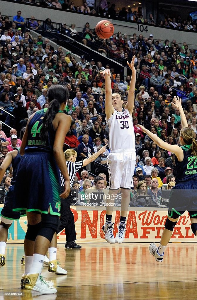 Breanna Stewart #30 of the Connecticut Huskies takes a shot against the Notre Dame Fighting Irish during the NCAA Women's Basketball Tournament Championship game at Bridgestone Arena on April 8, 2014 in Nashville, Tennessee.
