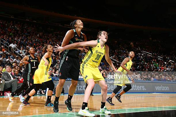 Breanna Stewart of the Seattle Storm fights for position against Kiah Stokes of the New York Liberty on July 6 2016 at Madison Square Garden in New...