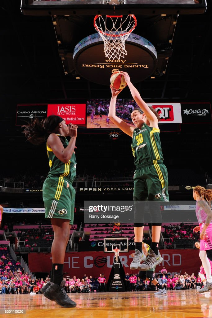 Breanna Stewart #30 of the Seattle Storm gets the rebound during the game against the Phoenix Mercury on August 12, 2017 at Talking Stick Resort Arena in Phoenix, Arizona.