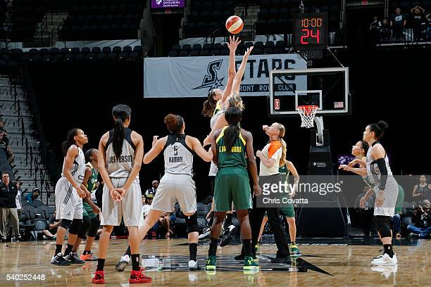 Breanna Stewart of the Seattle Storm goes for the tip off against the San Antonio Stars on June 14 2016 at ATT Center in San Antonio Texas NOTE TO...