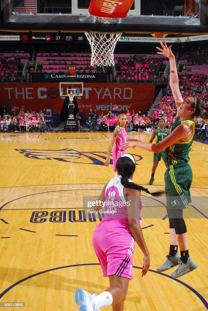 Breanna Stewart #30 of the Seattle Storm shoots the ball during the game against the Phoenix Mercury on August 12, 2017 at Talking Stick Resort Arena in Phoenix, Arizona.