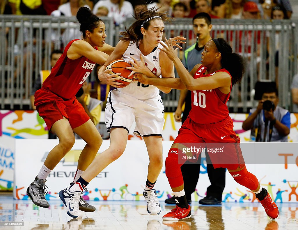 <a gi-track='captionPersonalityLinkClicked' href=/galleries/search?phrase=Breanna+Stewart&family=editorial&specificpeople=8564806 ng-click='$event.stopPropagation()'>Breanna Stewart</a> #10 of the USA is defended by Miranda Ayim #9 and Nirra Fields #10 of Canada during the Women's Baskeball Finals at the Pan Am Games on July 20, 2015 in Toronto, Canada.
