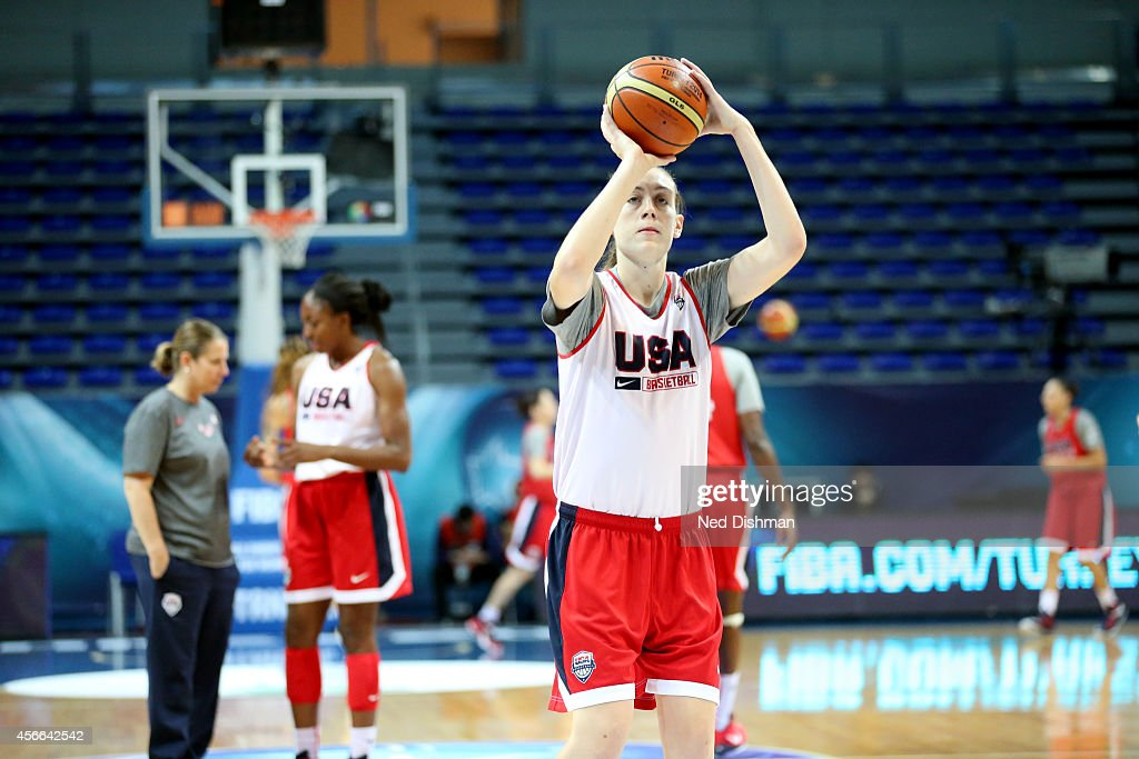 <a gi-track='captionPersonalityLinkClicked' href=/galleries/search?phrase=Breanna+Stewart+-+Basketball+Player&family=editorial&specificpeople=8564806 ng-click='$event.stopPropagation()'>Breanna Stewart</a> #10 of the Women's Senior U.S. National Team shoots during a team practice before the semifinals of the 2014 FIBA World Championships on October 4, 2014 in Istanbul, Turkey.
