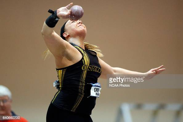 Breanna Strupp of UW Oshkosh puts the shot during the Division III Men's and Women's Indoor Track and Field Championships held at the Al B Carius...