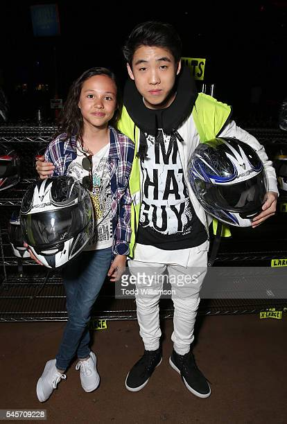 Breanna Yde and Lance Lim attend a 'Gortimer Gibbon's Life On Normal Street's' celebration by Amazon and J14 at Racer's Edge Indoor Karting on July 8...