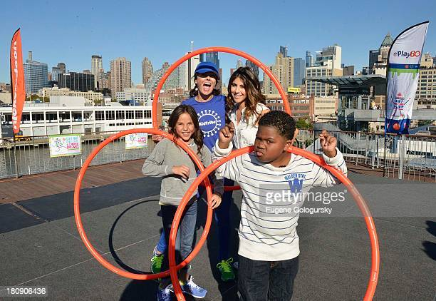 Breanna Yde Kellee McQuinn Daniella Monet and Benjamin Flores Jr attend the Nickelodeon And NFL Play 60 At The Intrepid on September 17 2013 in New...