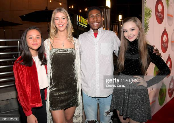 Breanna Yde Lexi DiBenedetto Armani Barrett and Savannah May at the premiere of The Nickelodeon Movie 'Tiny Christmas' on November 28 2017 in...
