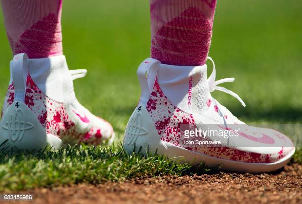 Breast Cancer Awareness sneakers during a MLB National League game between the Washington Nationals and the Philadelphia Phillies on May 14 at...
