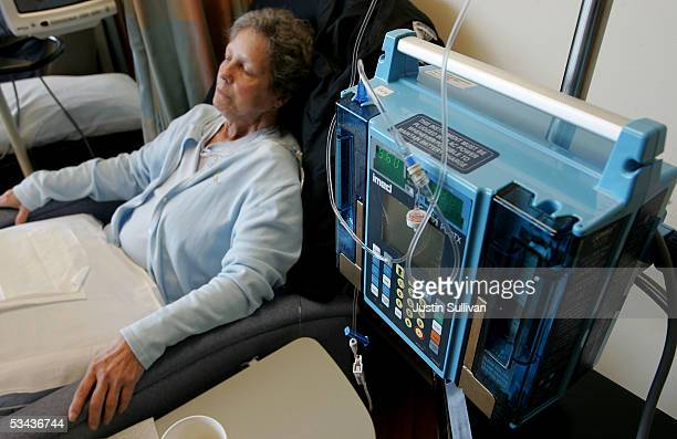 A breast cancer patient receives a trial medication treatment in the infusion center at the UCSF Comprehensive Cancer Center August 18 2005 in San...