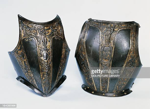 Breastplate and backplate of an embossed and gilded armour ca 1560 Italy 16th century London Wallace Collection