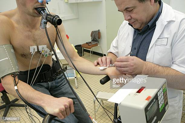 Breathing Potency Test Caen hospital in France Pulmonary function testing exercise test A Blood sample is collected in the radial artery to measure...