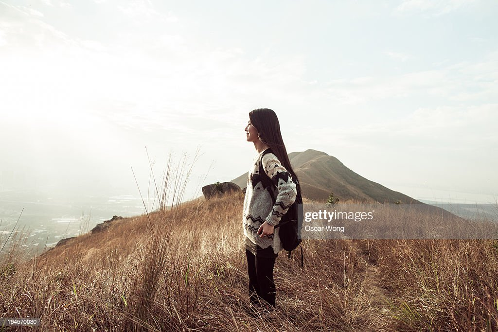Breathing the fresh air on the mountain : Stock Photo