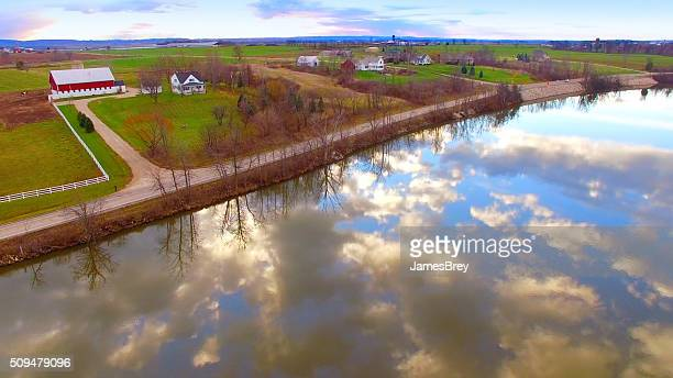 Breathtakingly Beautiful Rural Landscape With Sky Reflected in River