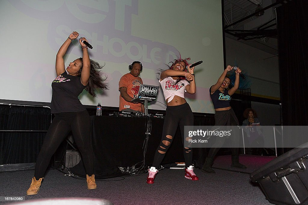 Breaunna Womack aka Miss Babydoll, DJ Dallas Green, Bahja Rodriguez aka Miss Beauty, and Zonnique Pullins aka Miss Star of the OMG Girlz perform for Round Rock, Texas students during the Get Schooled Victory Tour at Stony Point High School on April 30, 2013 in Round Rock, Texas.