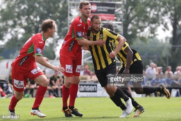 Brecht Capon of KV Oostende Nicolas Lombaerts of KV Oostende Tim Matavz of Vitesse during the friendly match between Vitesse Arnhem and KV Oostende...
