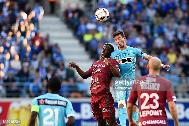 Brecht Dejaegere midfielder of KAA Gent and Soualiho Meite midfielder of SV Zulte Waregem pictured during the Jupiler Pro League match between KAA...