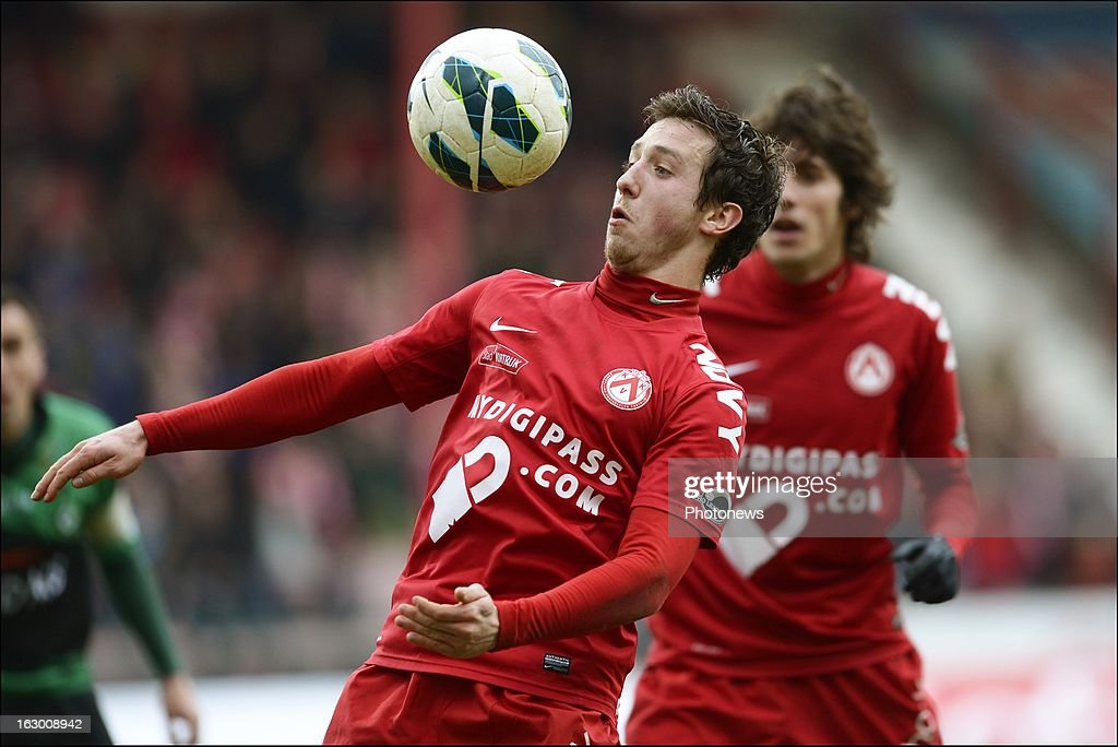 Brecht Dejaegere of KV Kortrijk in action during the Cofidis Cup semi-final match between KV Kortrijk and Cercle Brugge in the Guldensporen stadium on March 03, 2013 in Kortrijk, Belgium.