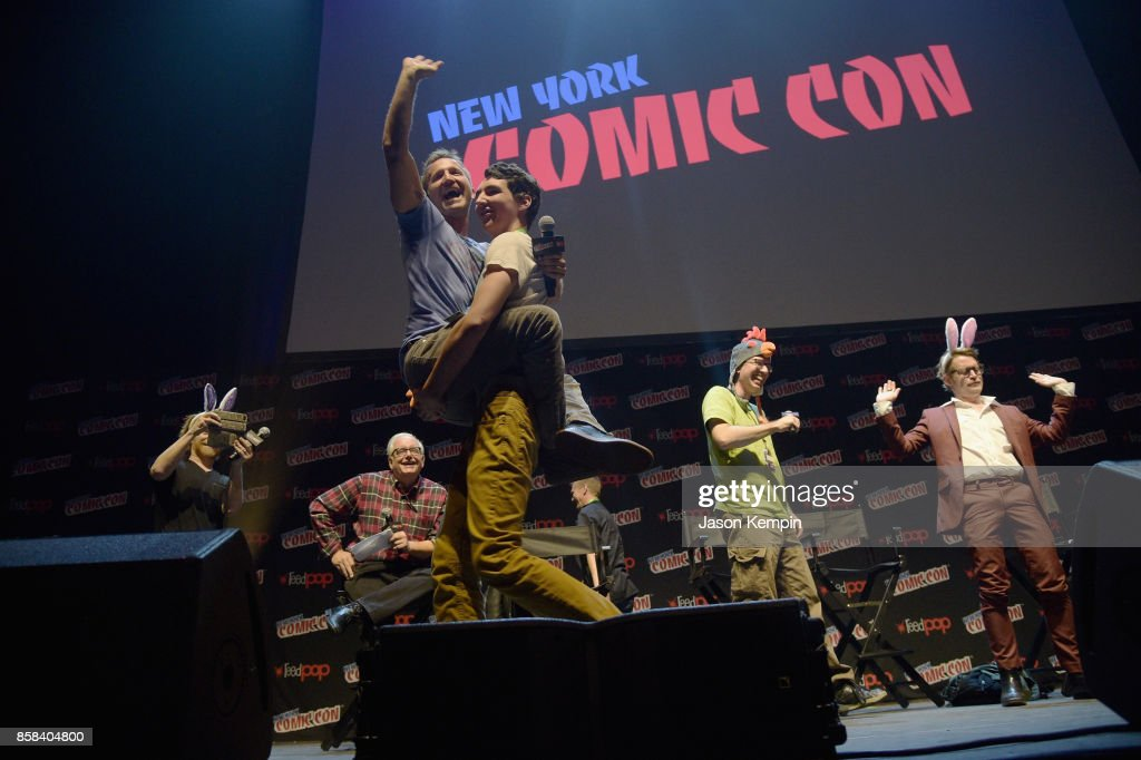 Breckin Meyer is carried onstage as Seth Green, Keith Crofford, Matt Senreich and Macaulay Culkin look on at the Robot Chicken Panel during New York Comic Con 2017 -JK at Hammerstein Ballroom on October 6, 2017 in New York City. 27356_002