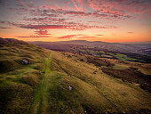 Aerial view of a Sunset over the Brecon Beacon Mountains