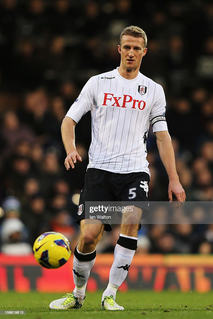 Brede Hangeland of Fulham controls the ball during the Barclays Premier League match between Fulham and Swansea City at Craven Cottage on December 29, 2012 in London, England.
