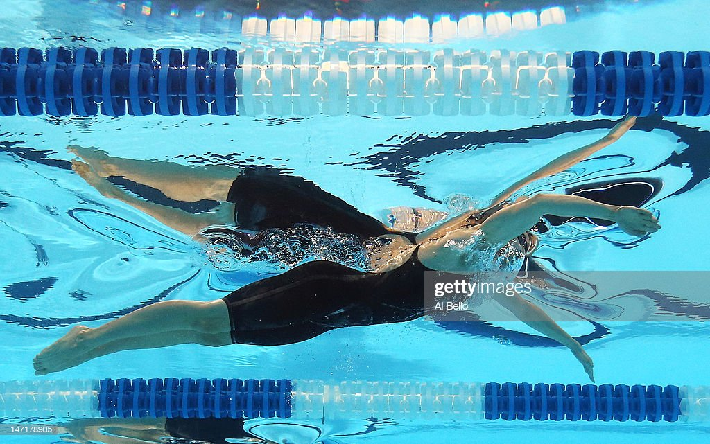 breeja larson competes in the first semifinal heat of the womens 100 m breaststroke during day