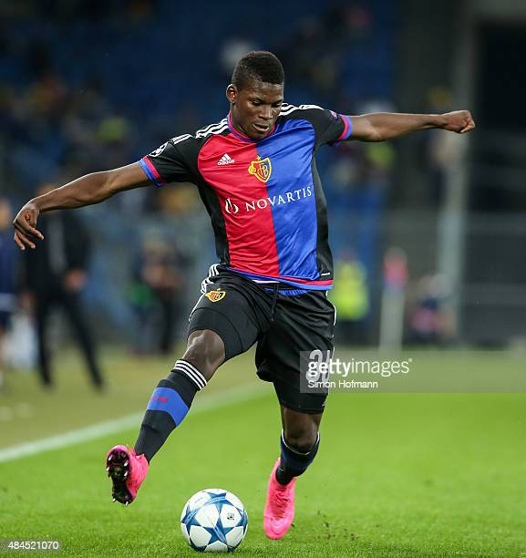 Breel Embolo of Basel controls the ball during the UEFA Champions League qualifying round play off first leg match between FC Basel and Maccabi Tel...