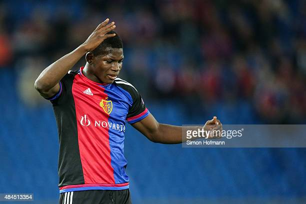 Breel Embolo of Basel reacts during the UEFA Champions League qualifying round play off first leg match between FC Basel and Maccabi Tel Aviv at St...
