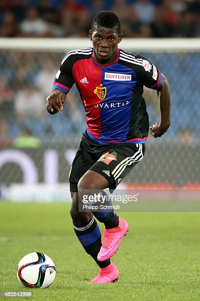 Breel Embolo of FC Basel runs with the ball during the UEFA Champions League third qualifying round 2nd leg match between FC Basel 1893 and KKS Lech...